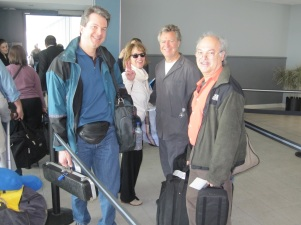 Lucas was booked on another flight. From L to R: Chris, Ava, Chas & Paul just before boarding our flight in New York.